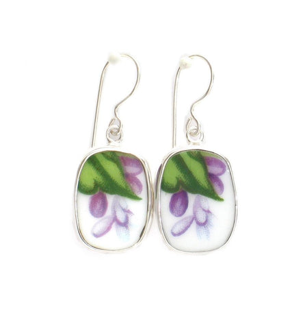 Broken China Jewelry Rossetti Spring Violets Sterling Rectangle Dangle Earrings
