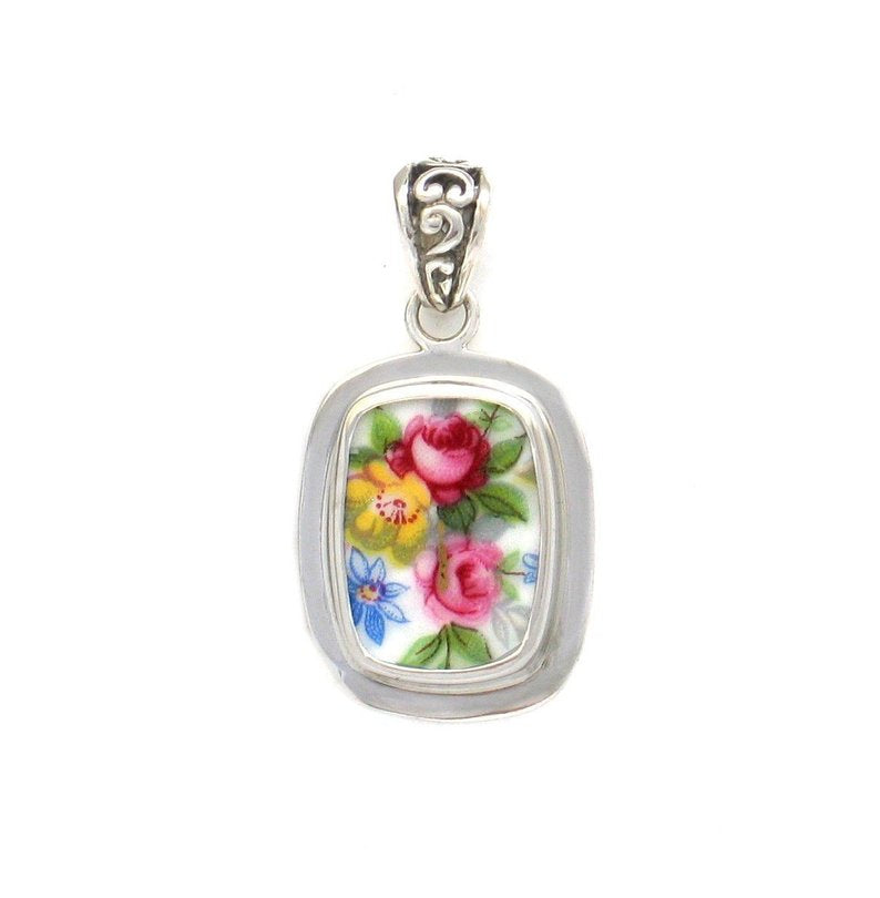 Broken China Jewelry Vienna Rose Garden Pink Yellow Blue Small Rectangle Sterling Pendant