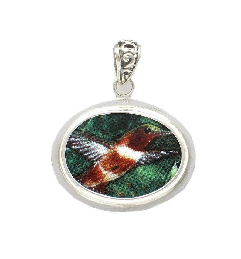 Broken China Jewelry Rufous Hummingbird Bird A Sterling Horizontal Oval Pendant