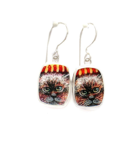 Broken China Jewelry Kitty Cat A Red Striped Hat Sterling Dangle Earrings