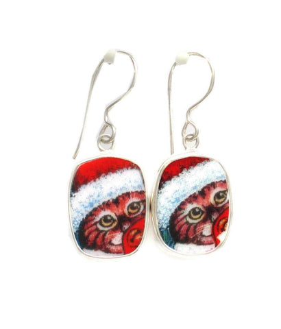 Broken China Jewelry Kitty Cat R Striped Cat with Santa Hat Sterling Dangle Earrings