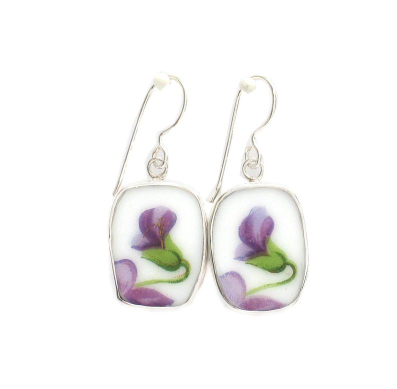 Broken China Jewelry Rossetti Spring Violets Violet Blossom Sterling Rectangle Dangle Earrings