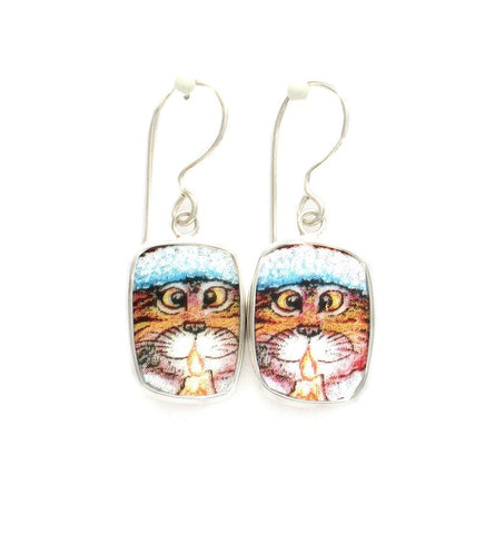 Broken China Jewelry Kitty Cat V Orange Striped Cat with Candle Sterling Dangle Earrings