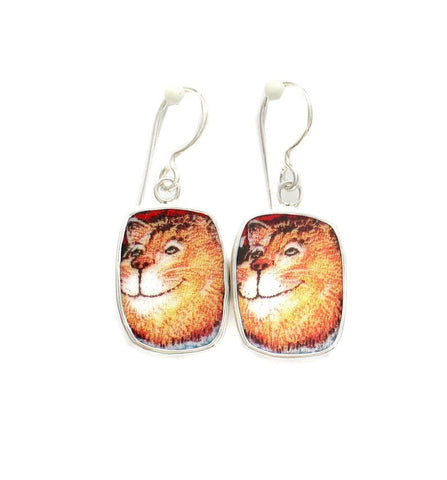 Broken China Jewelry Kitty Cat X Big Orange Cat Sterling Dangle Earrings