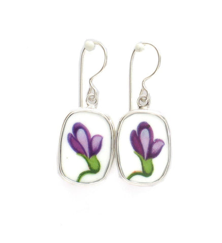 Broken China Jewelry Rossetti Spring Violets Single Violet Blossom Stelring Rectangle Earrings