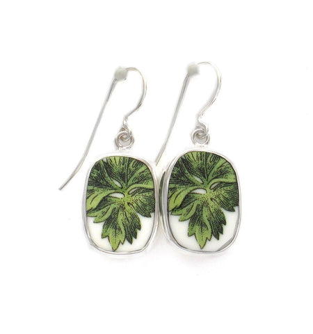 Broken China Jewelry Portemeiron Botanic Garden Leaf Sterling Earrings