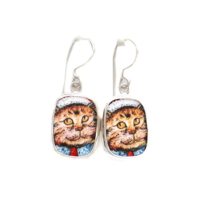 Broken China Jewelry Kitty Cat Z Yellow Orange Cat Sterling Earrings