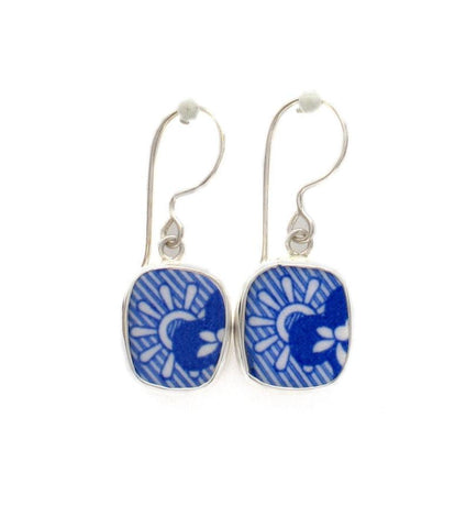 Broken China Jewelry Spode Blue Italian Floral & Swirl Sterling Earrings