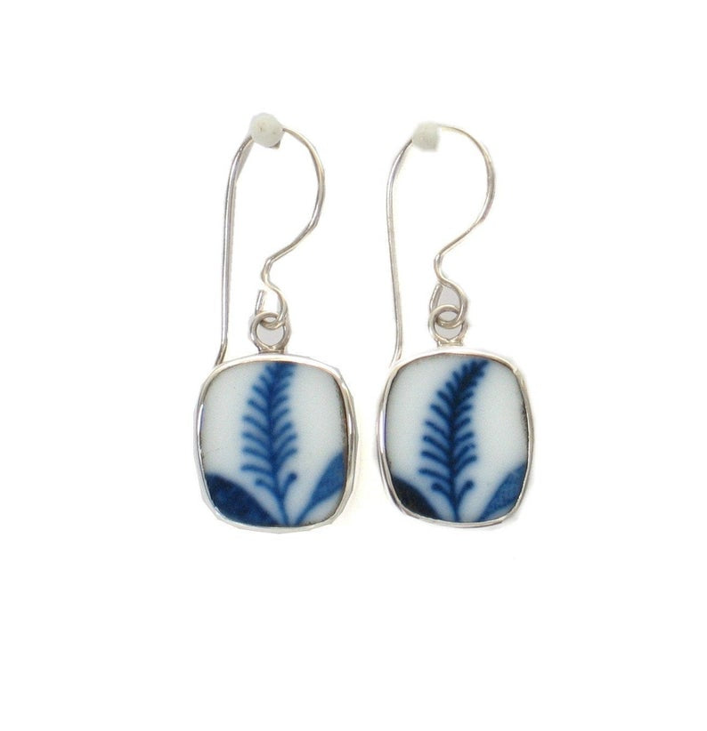 Broken China Jewelry Blue Danube Botanical Frond Stelring Earrings
