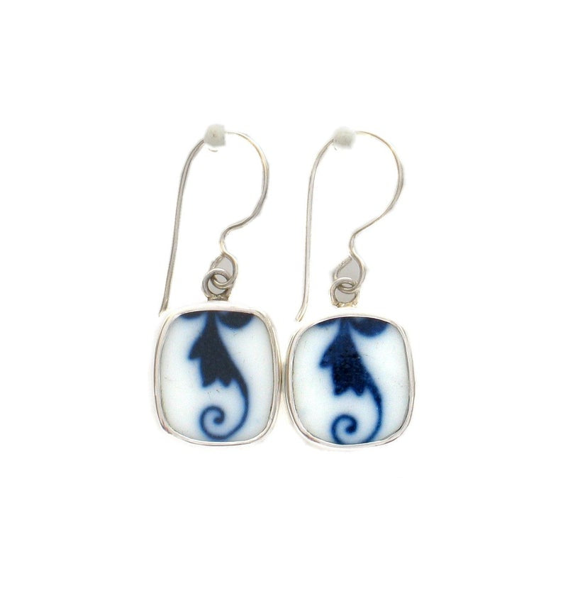 Broken China Jewelry Blue Danube Botanical Swirl Stelring Earrings