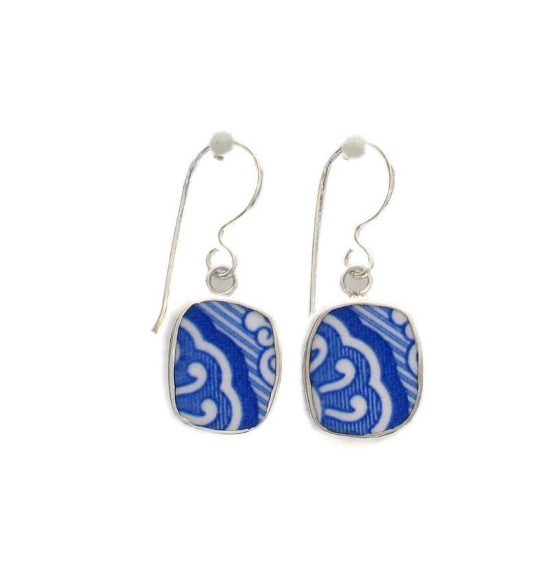 Broken China Jewelry Spode Blue Italian Swirl Border Pattern Sterling Earrings