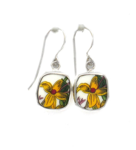 Broken China Jewelry Portmeirion Botanic Garden Yellow Jasmine Flower C Sterling Earrings