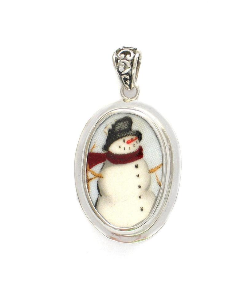 Broken China Jewelry Winter Christmas Snowman Rt Facing Sterling Small Oval Pendant