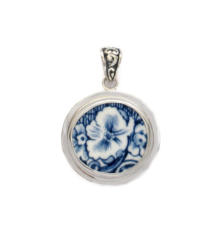 Broken China Jewelry Coaching Scenes Johnson Brothers Bros. Blue Floral Sterling Circle Pendant