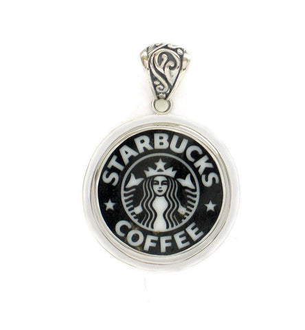 Broken China Jewelry Starbucks Backstamp Sterling Large Circle Pendant