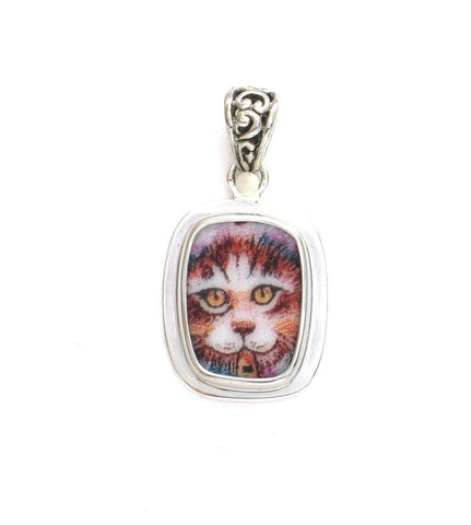 Broken China Jewelry Kitty Cat H Golden Eyes Sterling Rectangle Pendant