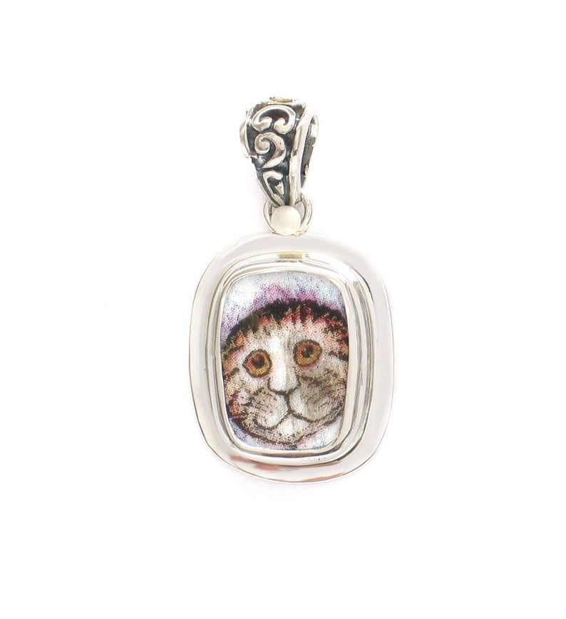 Broken China Jewelry Kitty Cat S Striped Cat with Fuzzy Hat and Collar Sterling Rectangle Pendant