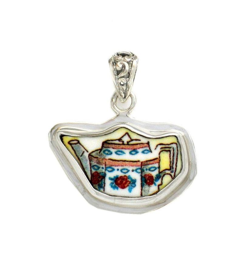 Broken China Jewelry Duchess Teapot Rose Angled Sides Tea Pot Sterling Pendant