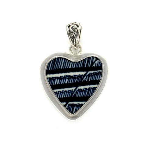 Broken China Jewelry Currier & Ives Blue Edge Sterling Heart Pendant
