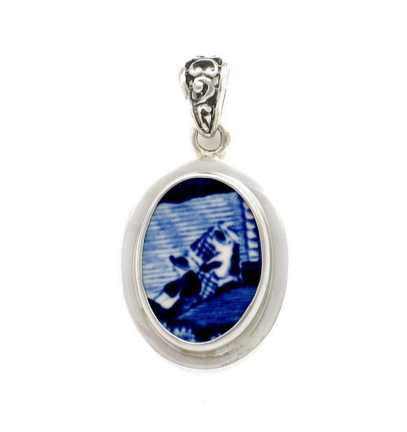 Broken China Jewelry Spode Blue Italian Fishermen at the Water's Edge Sterling Pendant