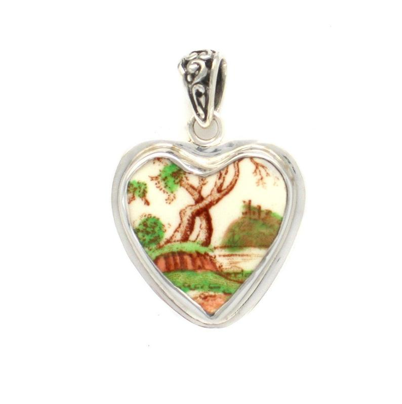 Broken China Jewelry Royal Doulton Michelham Tree by the River Sterling Heart Pendant
