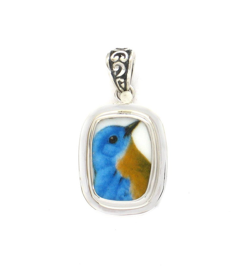 Broken China Jewelry Bluebird Blue Garden Bird Bird Sterling Rectangle Pendant
