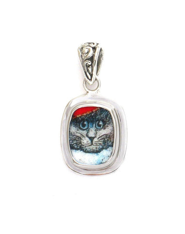 Broken China Jewelry Kitty Cat I Gray Grey Sterling Rectangle Pendant