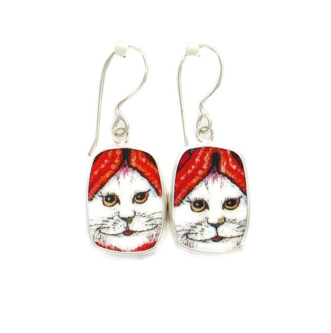Broken China Jewelry Kitty Cat M White Cat Smiling w Red Hat Sterling Dangle Earrings