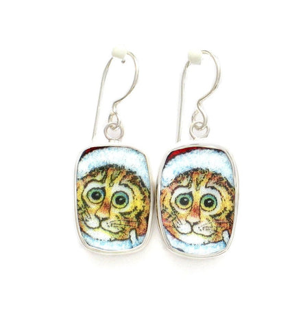 Broken China Jewelry Kitty Cat Q Yellow Cat with Green Eyes Sterling Dangle Earrings