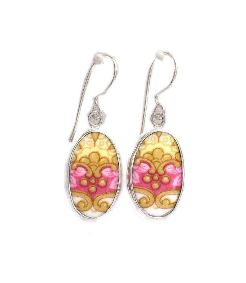 Broken China Jewelry Lady Carlyle Pink Yellow Crest Sterling Oval Earrings