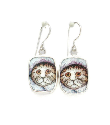 Broken China Jewelry Kitty Cat S Striped Cat with Fuzzy Hat and Collar Sterling Dangle Earrings