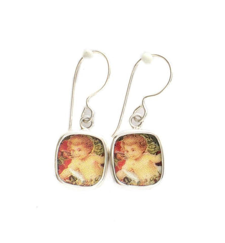 Broken China Jewelry Victorian Cherub Angel Sterling Earrings