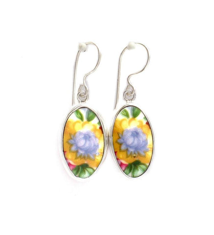 Broken China Jewelry Lady Carlyle Yellow and Blue Flower Sterling Tall Oval Earrings