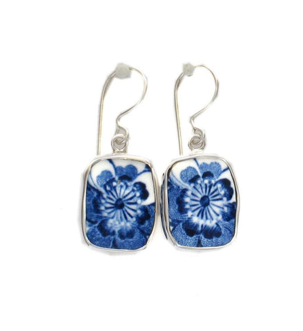 Broken China Jewelry Johnson Bros Indies Blue Flower Sterling Dangle Earrings