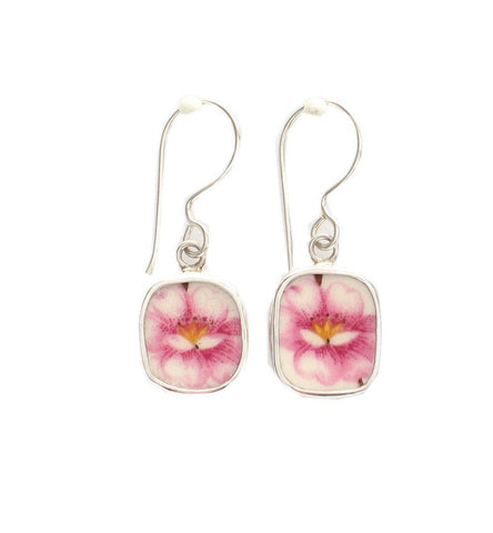 Broken China Jewelry Pink Peony Flower Sterling Square Dangle Earrings