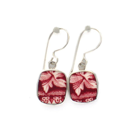 Broken China Jewelry Mason's Vista Pink Red Botanical Leaf A Sterling Earrings