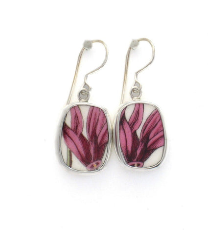 Broken China Jewelry Portmeirion Botanic Garden Pink Cyclamen Flowers Sterling Earrings