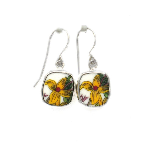 Broken China Jewelry Portmeirion Botanic Garden Yellow Jasmine Flower B Sterling Earrings