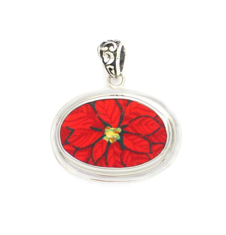 Broken China Jewelry Christmas Red Poinsettia Flower Small Sterling Horizontal Oval Pendant