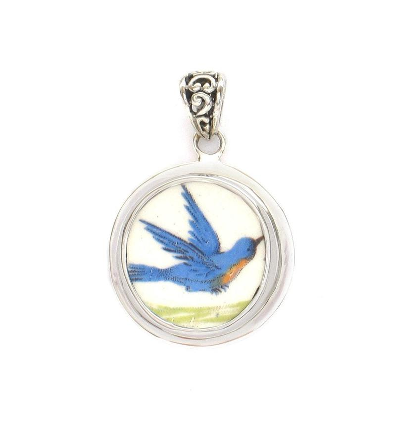 Broken China Jewelry Small Vintage Calendar Bluebird Rt Facing Sterling Circle Pendant