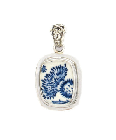 Broken China Jewelry Royal Warwick Lochs of Scotland Blue Thistle Flower A Sterling Rectangle Pendant
