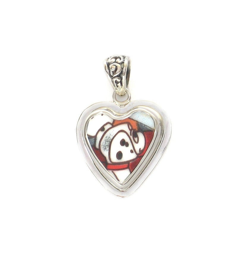 Broken China Jewelry 101 Dalmatians Dalmatian Pup Sterling Heart Pendant