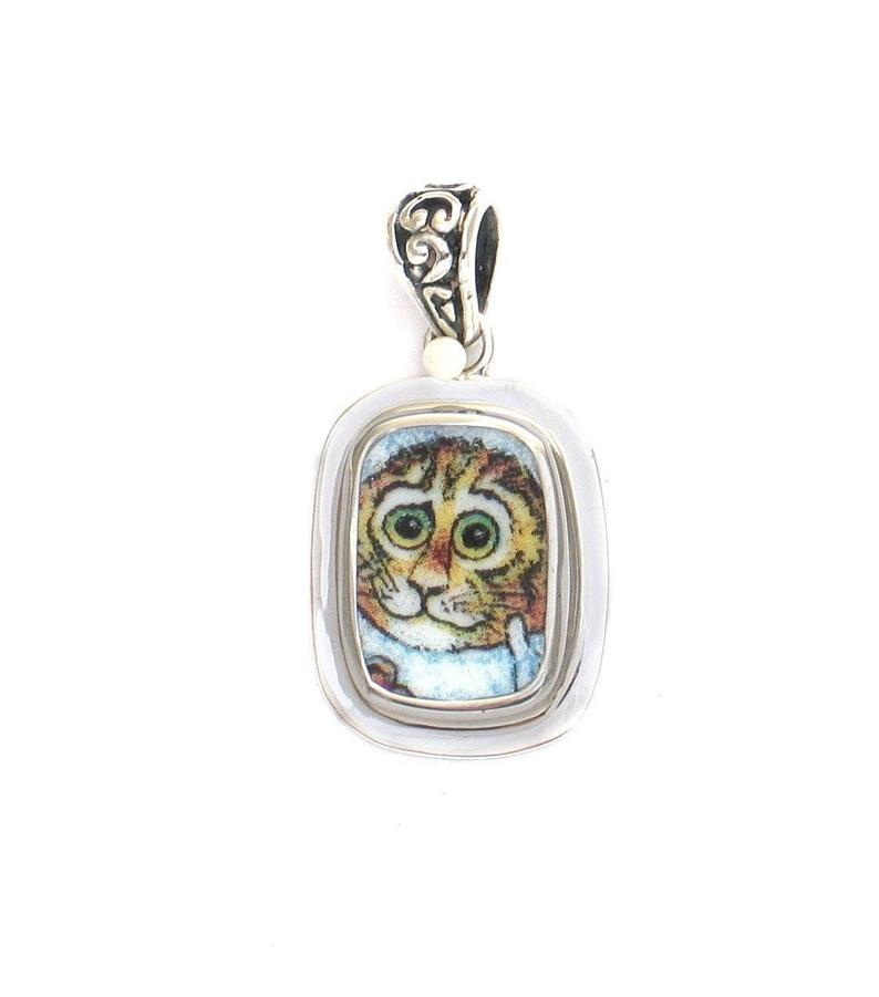 Broken China Jewelry Kitty Cat Q Yellow Cat with Green Eyes Sterling Rectangle Pendant