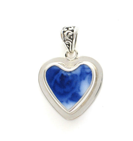 Broken China Jewelry Vintage English Flow Flo Blue Rose Floral Small Sterling Heart Pendant