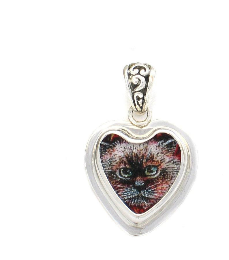Broken China Jewelry Kitty Cat A Sterling Heart Pendant