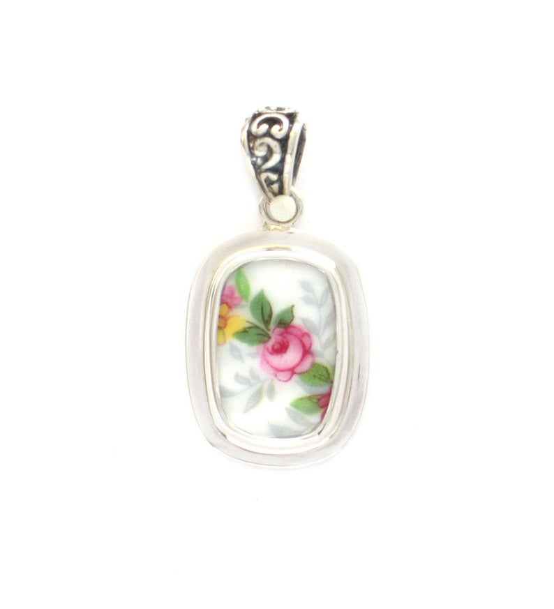 Broken China Jewelry Vienna Rose Garden Light Pink Rose Diagonal Small Rectangle Sterling Pendant