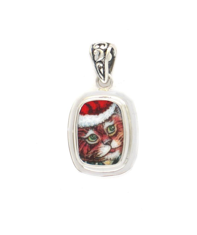 Broken China Jewelry Kitty Cat D Santa Cap Sterling Rectangle Pendant