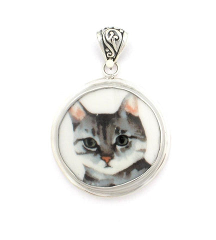 Broken China Jewelry Grey Gray Striped Cat Sterling Large Circle Pendant