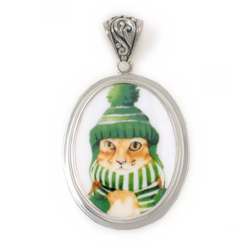Broken China Jewelry Orange Winter Cat in Green Hat and Scarf Sterling Oval Pendant