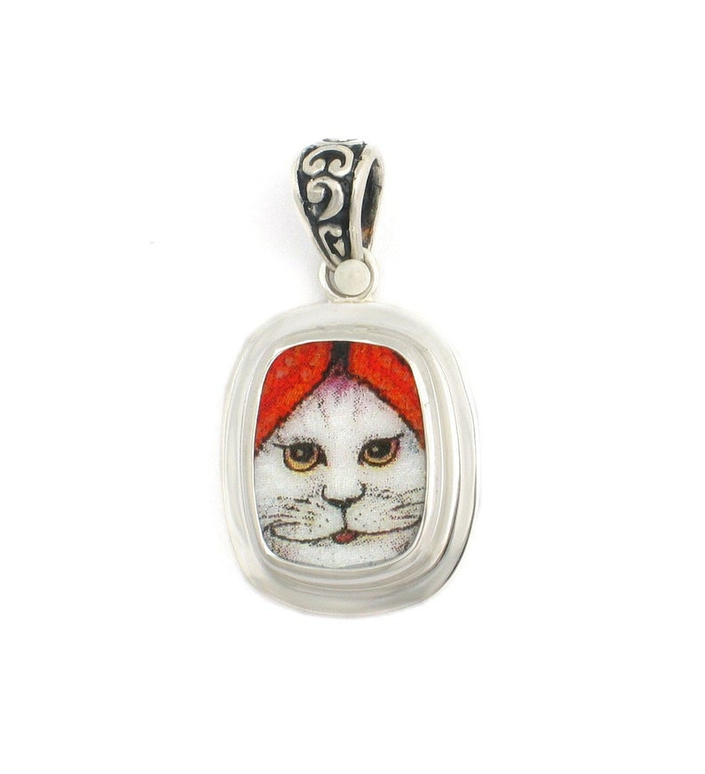 Broken China Jewelry Kitty Cat M White Cat Smiling w Red Hat Sterling Rectangle Pendant